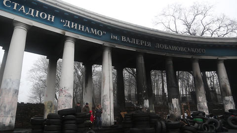 Barricades Near Dinamo Stadium On The Grushevskogo Street In Kiev, Ukraine stock footage