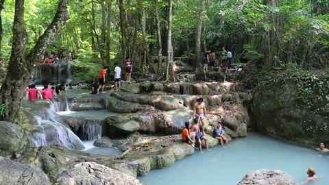 People In Erawan National Park And Erawan Waterfall In Western Thailand stock footage