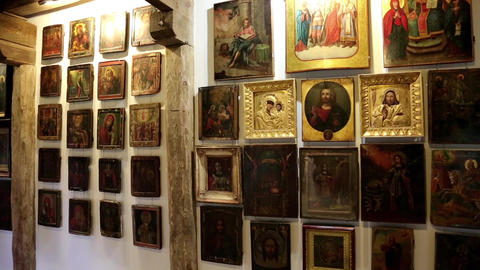 Old icons inside Radomysl Castle, the museum of Ukrainian home icons Footage