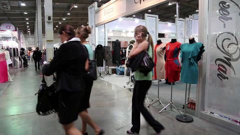 People at fashion show and trade fair Footage