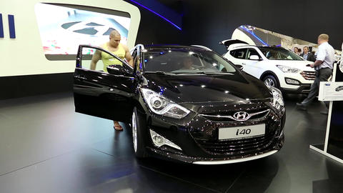 Black Hyundai i40 at automotive-show Footage