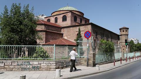 People near temple of Hagia Sophia in Thessaloniki, Greece Footage