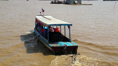 Ship sails to the Tonle Sap lake in Siem Reap province, Cambodia Footage