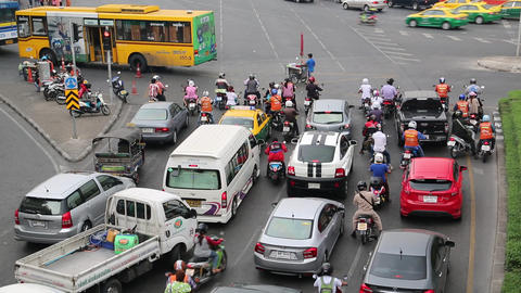 Many cars on the crossroads in Bangkok, Thailand Footage