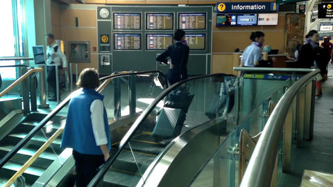 One side of escalator in YVR airport Footage