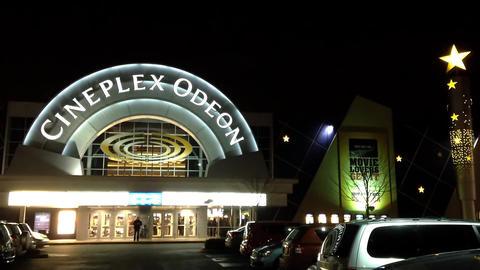 Night view of cineplex odeon theater in pitt meado Footage