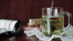 Brewing Of Green Tea For Easy Breakfast stock footage