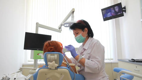 Stomatology - Oral Examination And Laser Cleaning  stock footage