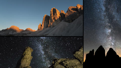 dolomite night milky way time lapse montage 11593 Footage