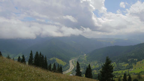 The Movement Of Clouds High In The Carpathian Moun stock footage