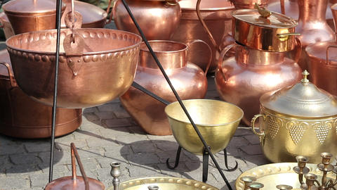 Brass and Copper Pots Footage