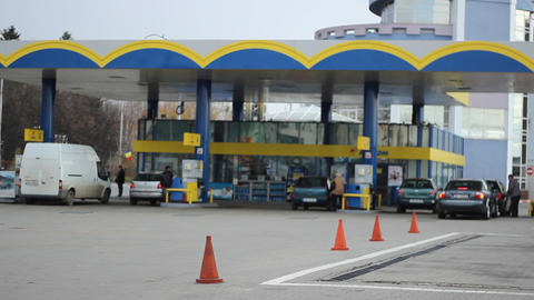 Cars Refuel In Gas Station stock footage
