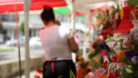 Flower Woman Stock Video Footage