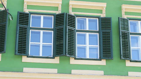Green Windows with Shutters Footage