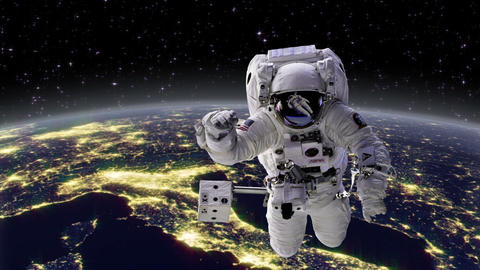 Astronaut in space with Earth, Europe behind Animation