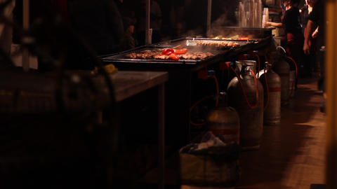 Night Mobile Kitchen stock footage