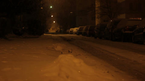 Night Snowed Street stock footage