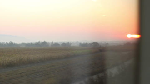 Sunrise from Moving Train Footage