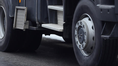Truck Wheels Slowly Passing Footage
