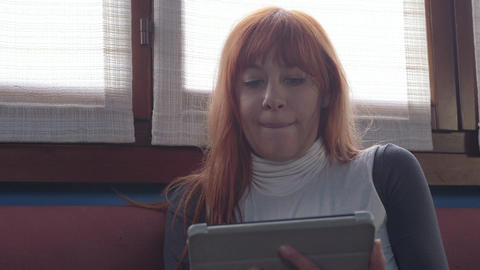 College Student Girl Woman Using Ipad Tablet For E Footage