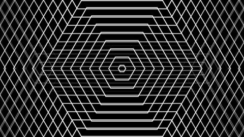 Hexagonal Line Grid With Alpha Matte stock footage