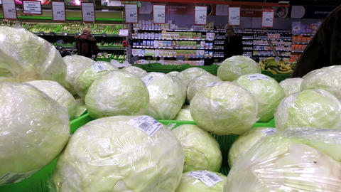 Close-up of cabbage in the supermarket Stock Video Footage