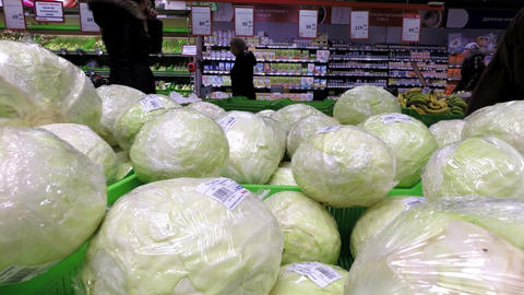 Close-up of cabbage in the supermarket Live Action