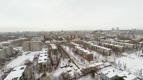 Big city from a bird's flight. Winter. Establishin Stock Video Footage