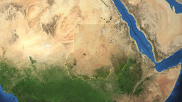 Sudan. 3D Earth in space - zoom in on Sudan outlin Animation