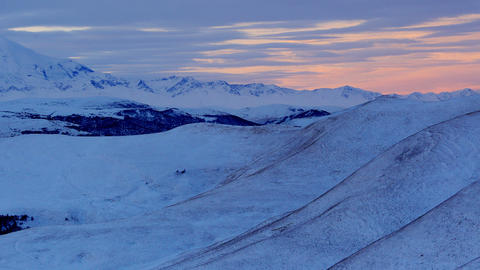 Timelapse sunrise in the mountains Elbrus, Norther Stock Video Footage