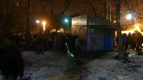 Epiphany celebrations in Russia (swimming at night Stock Video Footage