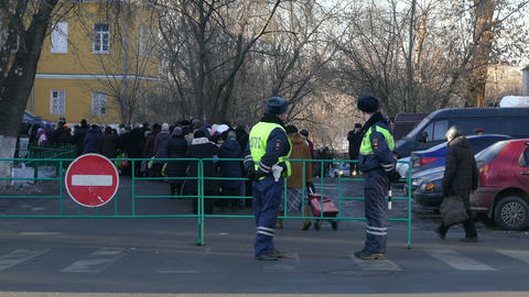 Police and place in Moscow (Epiphany) Stock Video Footage
