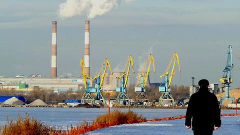Industrial Landscape - Cranes, Pipe Smoke, Winter, stock footage