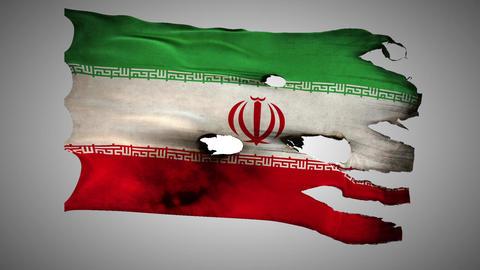 Iranian perforated, burned, grunge waving flag loo Stock Video Footage