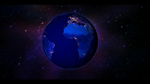planet earth at night with animated stars bg Animation