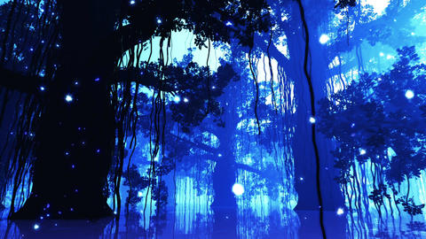 4 K Mysterious Deep Jungle Fireflies in Water at N Animation