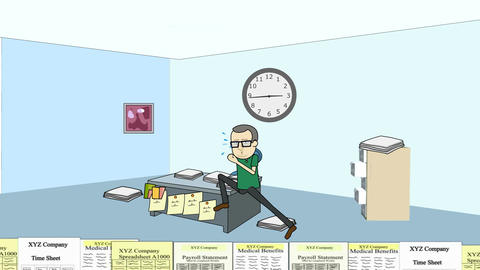 Running the Paperwork Treadmill (man): Looping Stock Video Footage