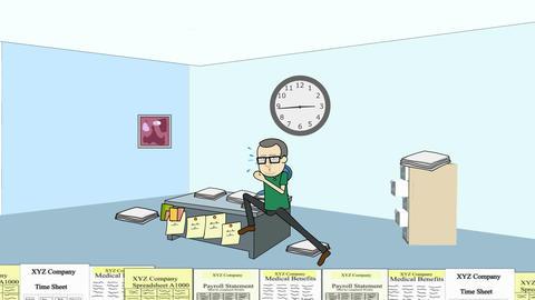 Running the Paperwork Treadmill (man): Looping Animation
