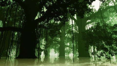 Mysterious Deep Jungle in Water at Night 3 Animation