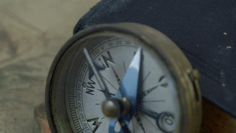 Closer look of the compass with the arrow on North Stock Video Footage