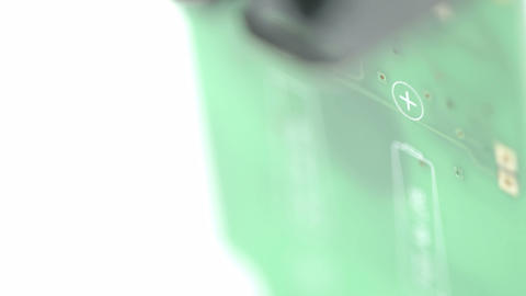 Blurry look of the micro chip of the battery Stock Video Footage