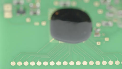The black micro board of the battery chip Stock Video Footage
