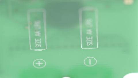 The green micro chip of the battery Stock Video Footage