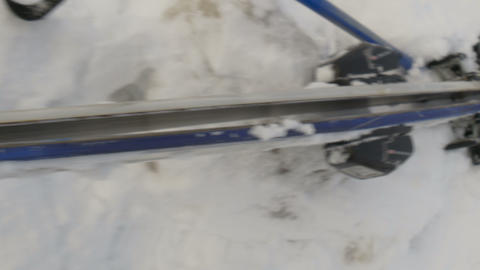 A pair of ski on the snow Stock Video Footage
