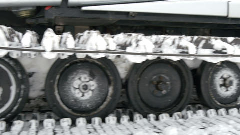 Side view of the snow back hoe truck Stock Video Footage