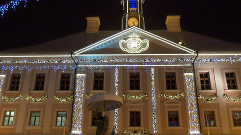 The beautiful town hall with lights of Estonia Stock Video Footage