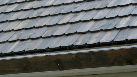 The wooden shingle roof of the house Stock Video Footage