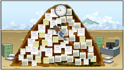 Climbing Paperwork Mountain: Looping Stock Video Footage