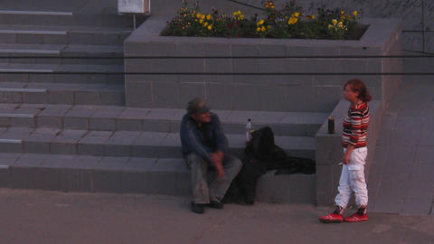 PETROZAVODSK, RUSSIA -July, 08: Homeless people on Stock Video Footage
