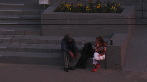 PETROZAVODSK, RUSSIA -July, 08: Homeless people on Footage